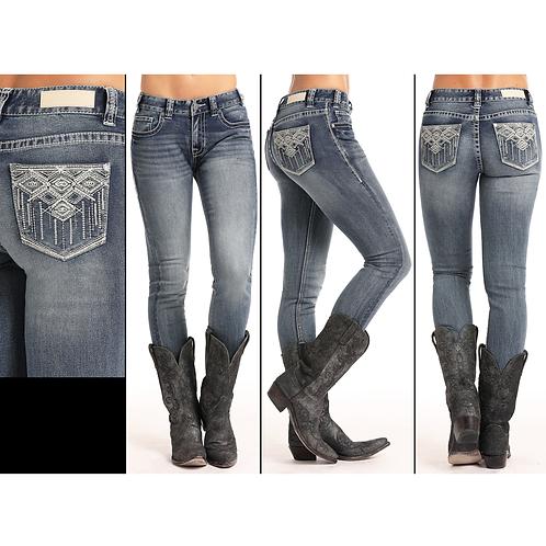Rock & Roll Denim Heavy Aztec Skinny Jeans