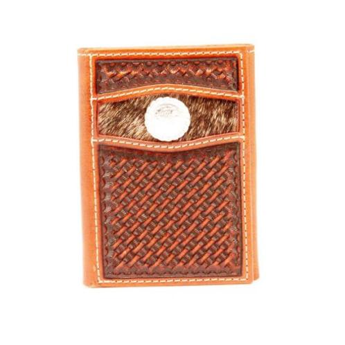 Nocona Basket Weave Hair On Tri Fold Wallet