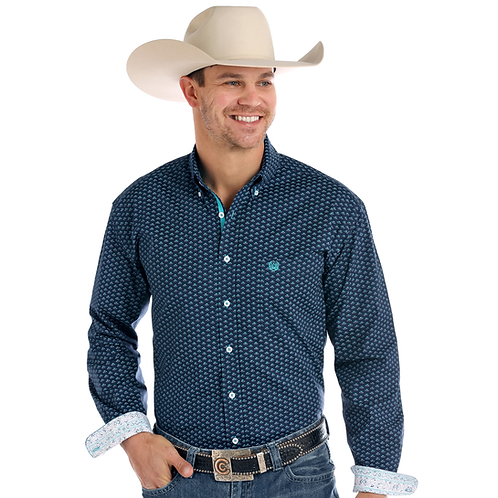 Panhandle Blue Retro Rotary Western Shirt with Aztec Cuffs