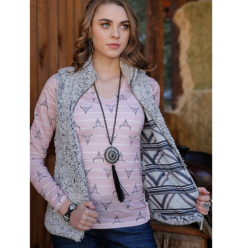 Cruel Sherpa Vest with Pink & Purple Aztec Lining