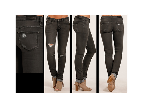 Rock & Roll Denim Distressed Charcoal Skinny Jeans