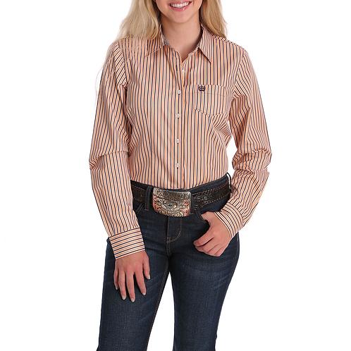 Ladies Cinch Orange Pinstripe Tencel Western Shirt