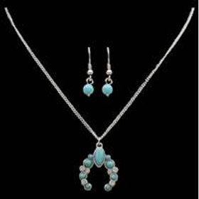 Silver and Turquoise Squash Blossom Earring and Necklace Set