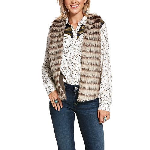 Ariat Natural Striped Faux Fur Vest