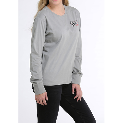 Cinch Light Grey Long Sleeve Shirt with Coral Accents