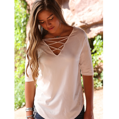 Cinch White Floral Cage Neck Top