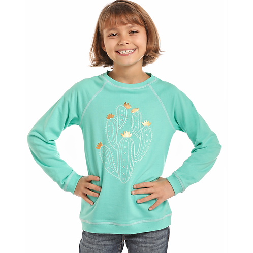 Panhandle Mint with Gold Cactus Sweater