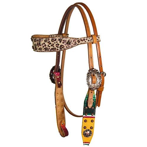 Fallon Taylor Serape Leopard Browband Headstall