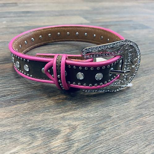 Kid's Brown & Hot Pink Studded Belt