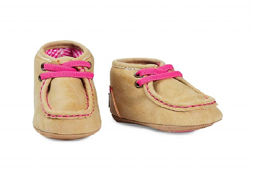 Baby Buckers Tan & Pink Lace Up Mocs