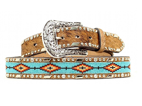 Ariat Turquoise Beaded Hair On Belt