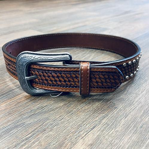 Kid's Studded Basketweave Belt - Dark
