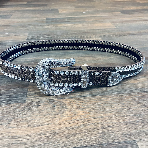 Ladies Brown Gator Belt with Double Row Gems
