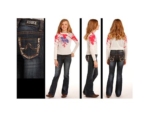 Rock & Roll Denim Bronze Rhinestone Jeans