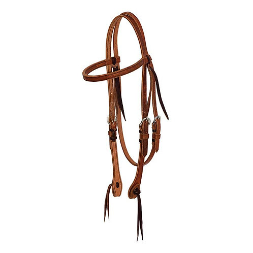 "5/8"" Leather Browband Headstall with Cowboy Knots"