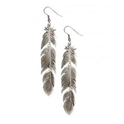 Montana Silversmith Silver Vein Feather Earrings