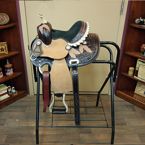 """TN Chocolate Feather & Floral Tooled 8"""" Saddle"""