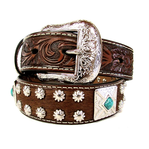 Nocona Hair On Square Turquoise Concho Belt
