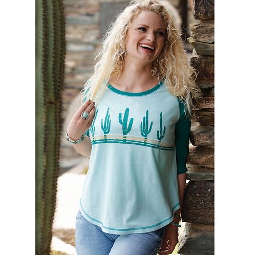 Cinch Green Cactus Raglan Top