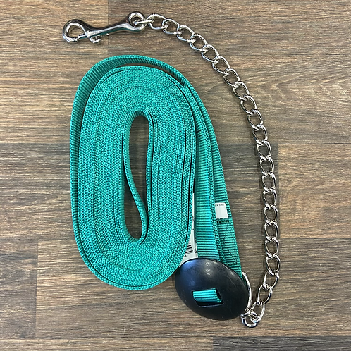 Nylon Lunge Line with Chain - Green