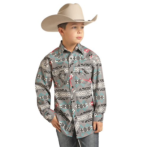 Boys Rock & Roll Denim DB Grey Aztec Western Shirt