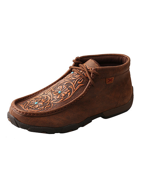 Twisted X Driving Moc - Brown Tooled Flowers with Turquoise Gems
