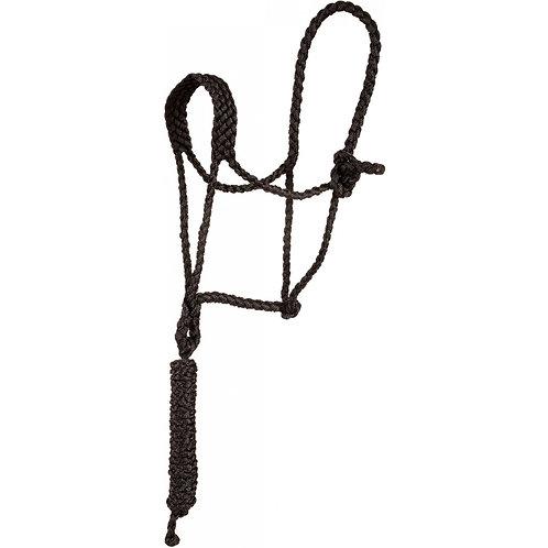 Flat Nose Mule Tape Halter w/ 10' Lead - Black