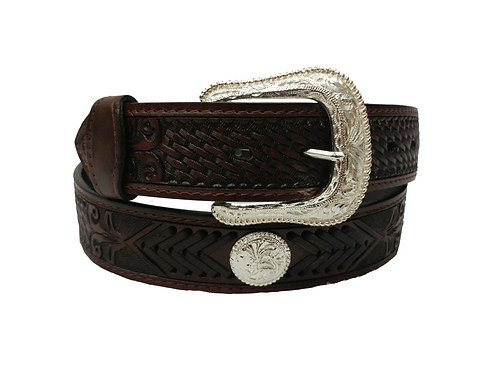 OK Corral Brown Tooled Concho Belt