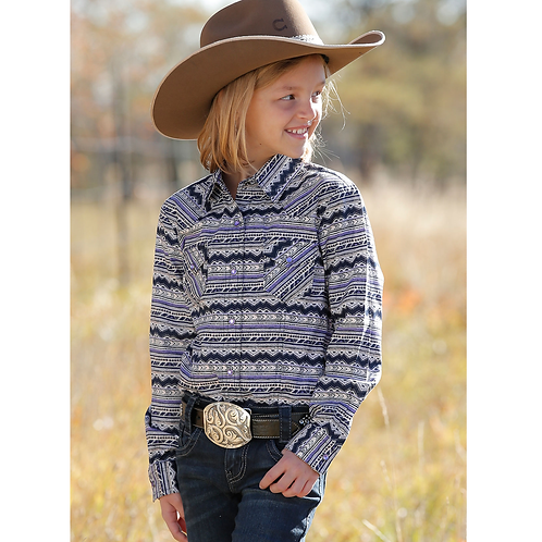 Girls Wrangler Purple & Navy Aztec Western Shirt
