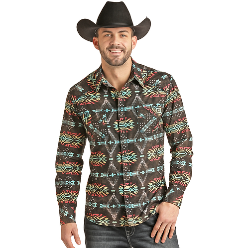Panhandle Black Neon Tribal Western Shirt