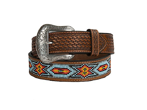 Nocona Brown Basket Weave Beaded Belt