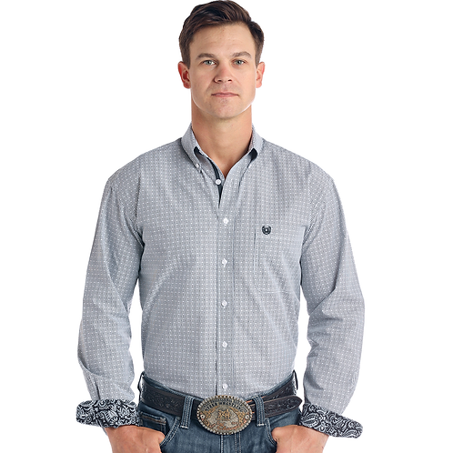Panhandle Black Pinstripe Western Shirt with Paisley Cuffs