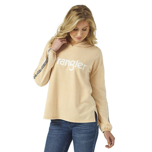 Wrangler Peach Hoodie with Aztec Sleeve Accent