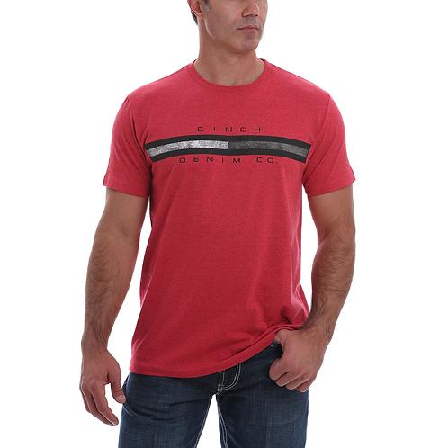 Men's Cinch Heather Red Tri-Stripe Logo Tee