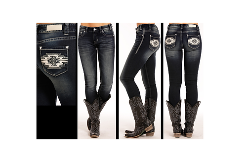 Rock & Roll Denim Aztec Leather & Rhinestone Skinny Jeans