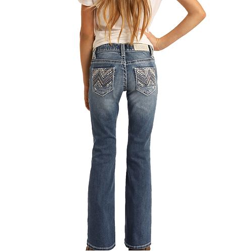 Girl's Rock & Roll Mixed Chevron Boot Cut Jeans