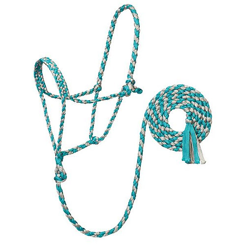 Weaver Braided Rope Halter with 10' Lead - Turquoise & Silver