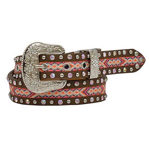 Angel Ranch Pink Studded Aztec Girls Belt