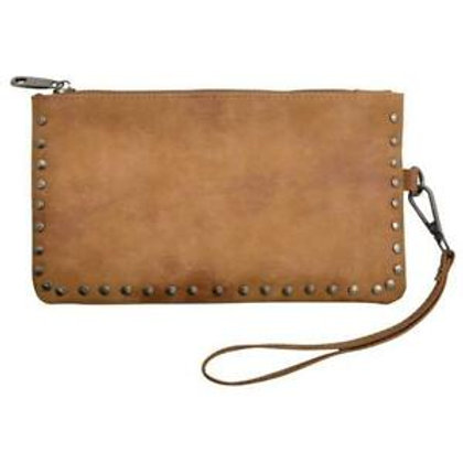 AR Tan Leather Studded Wallet