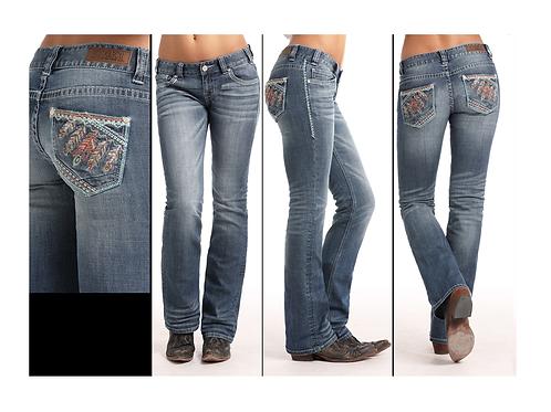 Rock & Roll Denim Vintage Multi Feather Jeans