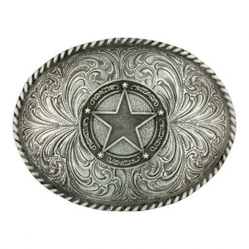 Montana Attitude Antique Silver Star Concho Buckle