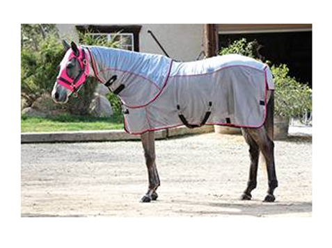 Professional's Choice Comfort Fit Fly Sheet - Charcoal & Pink
