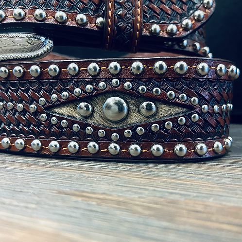 Basketweave Belt with Studs & Hair On Accents
