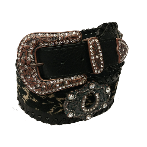 Black Laced Horseshoe Wide Fashion Belt