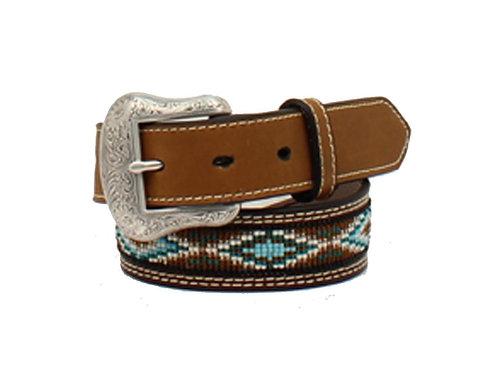 Nocona Tan Blue Beaded Belt