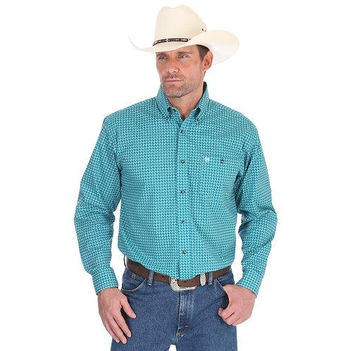 Wrangler Classic Arena Turquoise Western Shirt