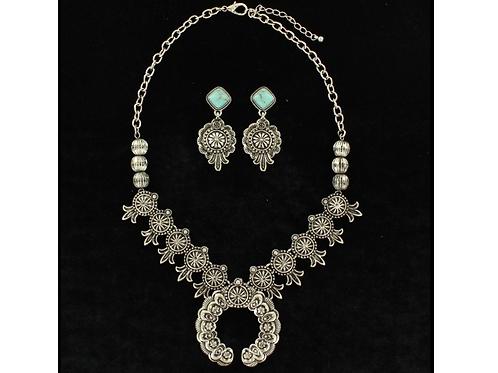 Blazin Roxx Turquoise Stone Silver Squash Blossom Set
