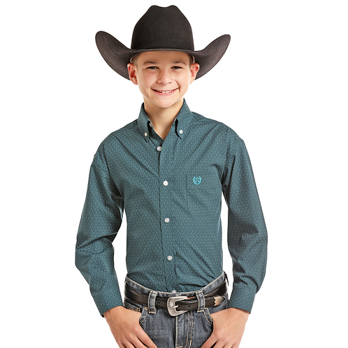 Panhandle Aqua Chevron Western Shirt