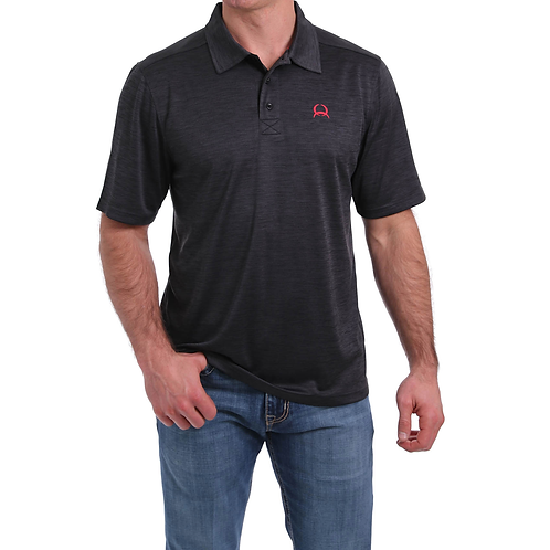Cinch Aged Black Arenaflex Polo Shirt with Red Logo