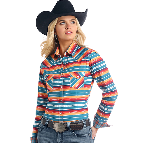Panhandle Bold Serape Western Shirt with Plaid Cuffs